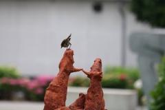 Artwalk-Hornerheide-310-Roodborstje-op-sculptuur-Duel