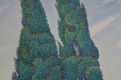 Paul Signac - 1893 - De Twee Cipressen, Opus 214 [mistral] 2