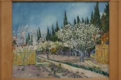 Vincent van Gogh - 1888 - Boomgaard tegen cipressen 1