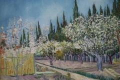 Vincent van Gogh - 1888 - Boomgaard tegen cipressen 2
