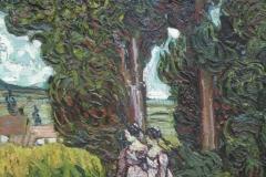 Vincent van Gogh - 1889 - Cipressen met Twee Figuren [detail]