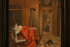 Cornelis-de-Man-1666-Vrouw-met-kat-in-interieur